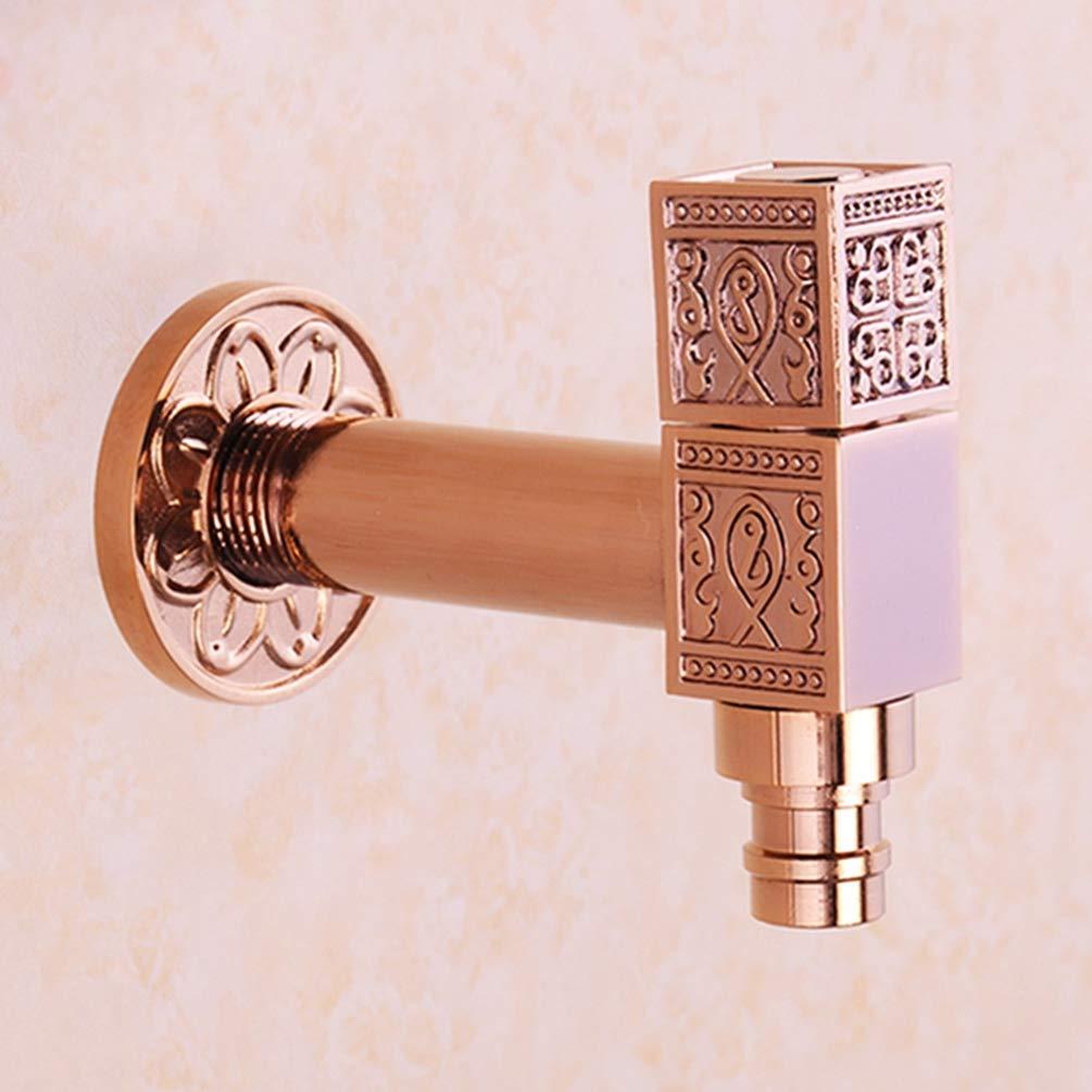 FZHLR Washing Machine Faucet Wall Mounted Bibcock Gold/Antique/Rose Gold Copper Outdoor Garden Faucet Washing Machine Tap Small Taps,Rose Gold