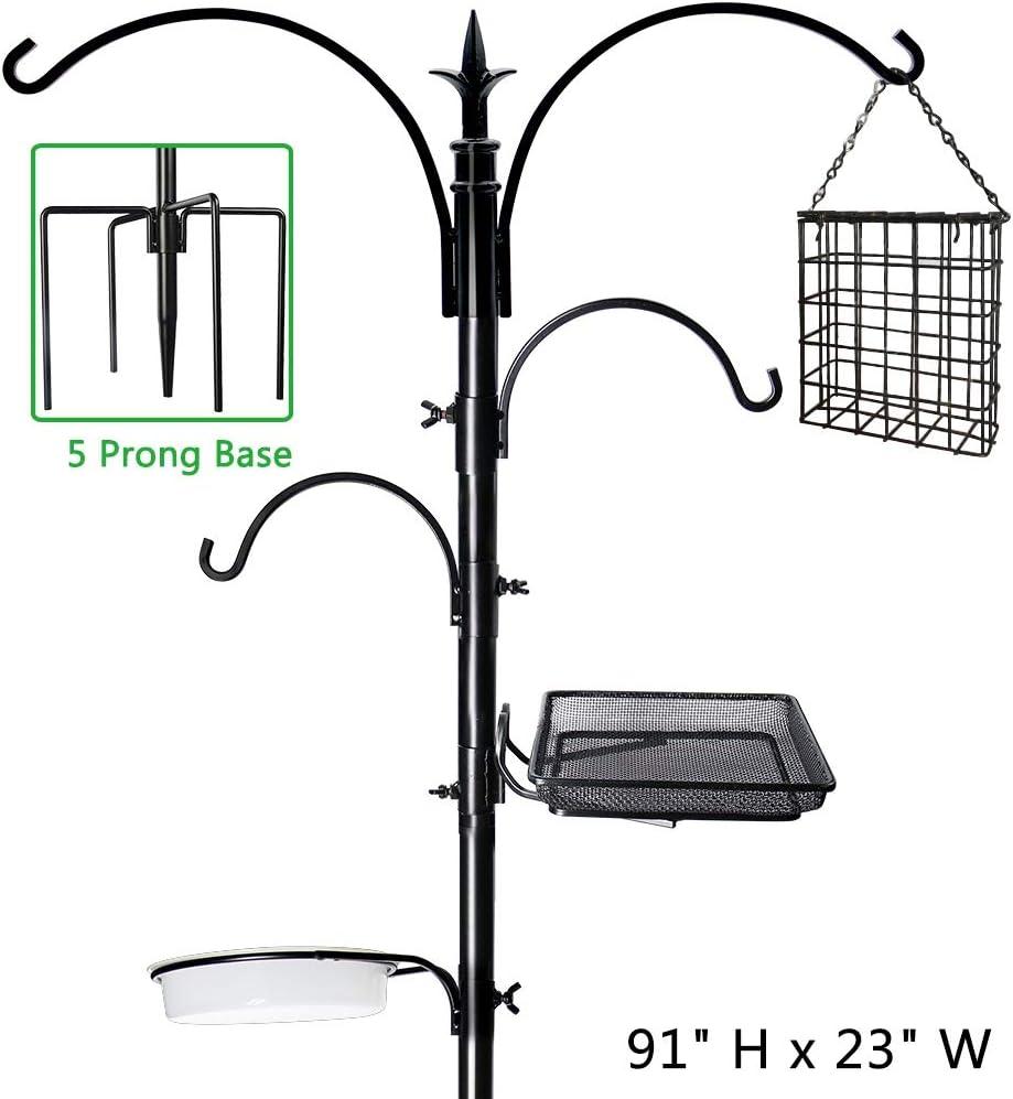 """yosager 91"""" x 23"""" Premium Bird Feeding Station Kit, Bird Feeder Pole Wild Bird Feeder Hanging Kit with Metal Suet Feeder Bird Bath for Bird Watching Birdfeeder Planter Hanger : Garden & Outdoor"""