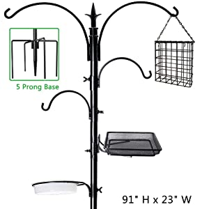 "Shrdaepe 91"" x 23"" Premium Bird Feeding Station Kit, Bird Feeder Pole Wild Bird Feeder Hanging Kit Bird Bath for Bird Watching Birdfeeder Planter Hanger"
