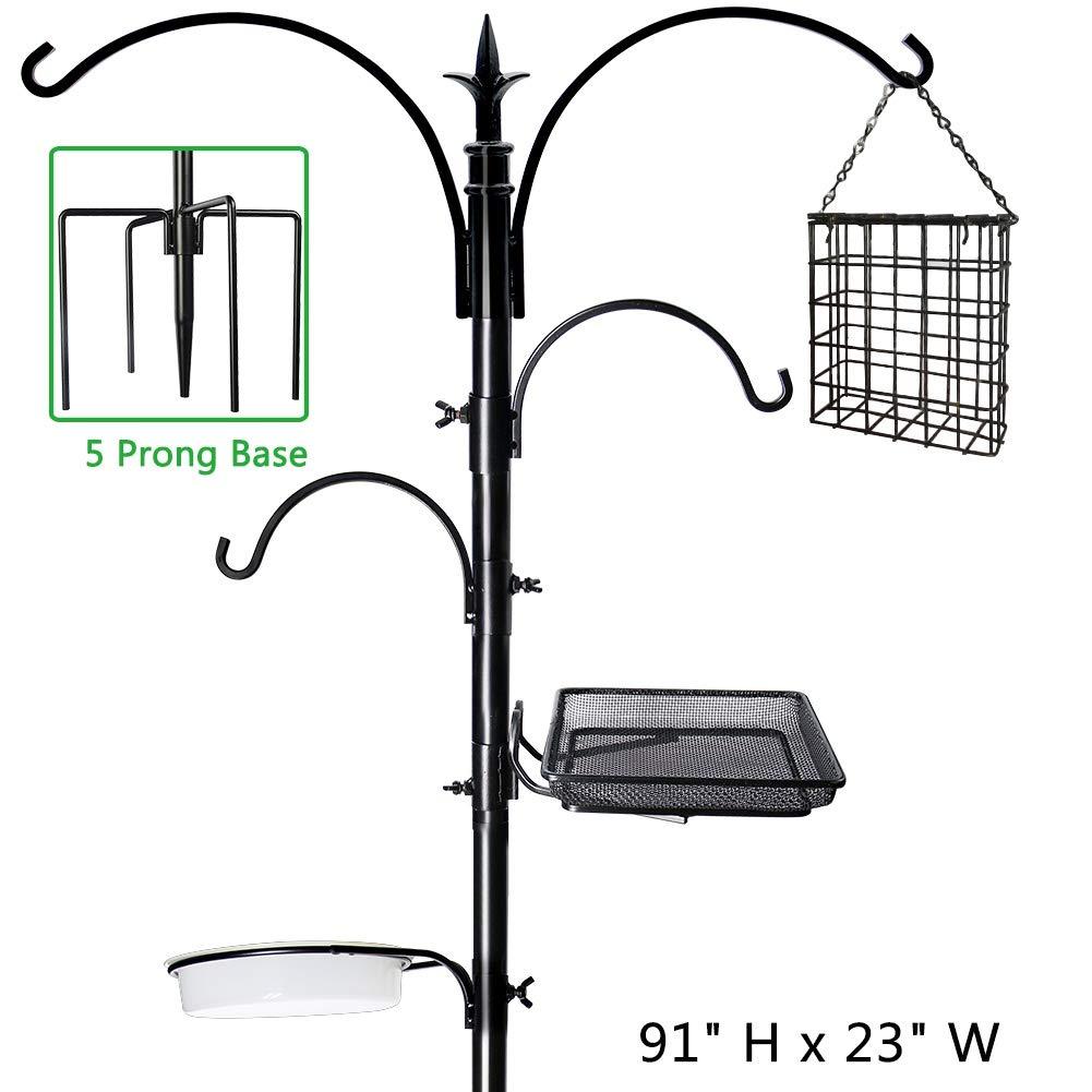 Shrdaepe 91'' x 23'' Premium Bird Feeding Station Kit, Bird Feeder Pole Wild Bird Feeder Hanging Kit Bird Bath for Bird Watching Birdfeeder Planter Hanger