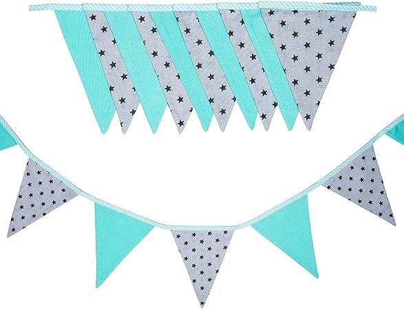 cozydots - Guirnalda de banderines de Doble Cara, Guirnalda de Tela, guirnaldas Coloridas para Decorar la habitación de los niños, decoración de Fiestas (mint stars, 235): Amazon.es: Hogar