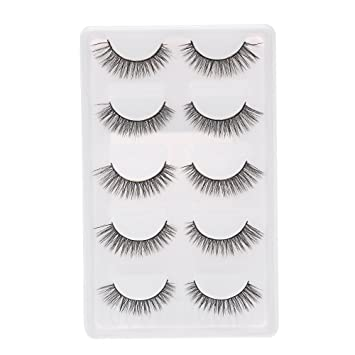 7df380bf60a Amazon.com : 5 Pairs Natural False Eyelashes Long Thick Fake Lashes 3D  Extension Eyelash Soft Handmade False Eyelash : Beauty