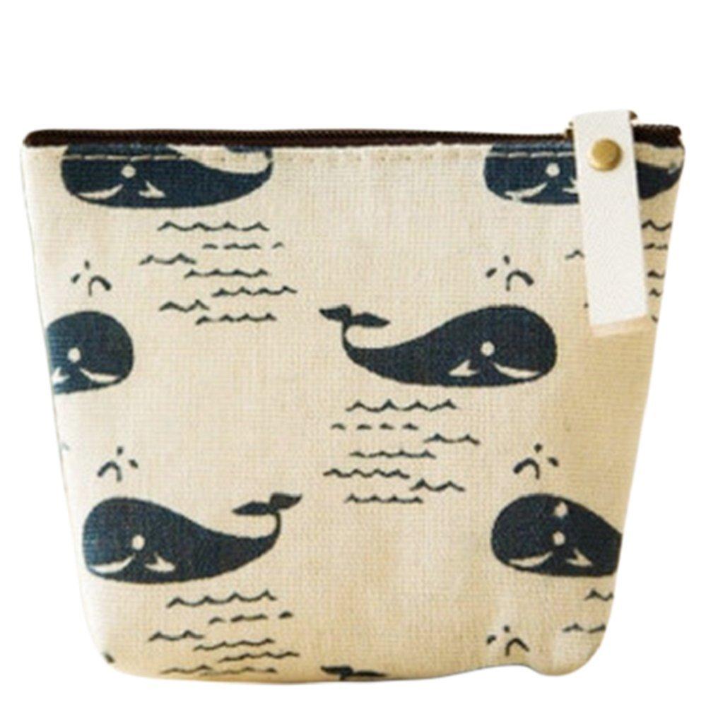 bigboba creativo fresco Monedero lienzo cartera moneda bolsa bolsa Holder bolsa de almacenamiento Tamaño pequeño para las mujeres niñas, lona, beige, 11.5x9.5cm