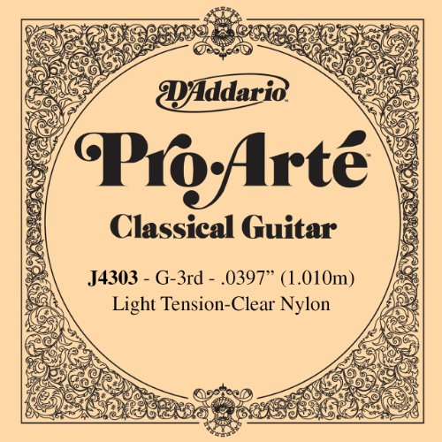 D'Addario J4303 Pro-Arte Nylon Classical Guitar Single String, Light Tension, Third String