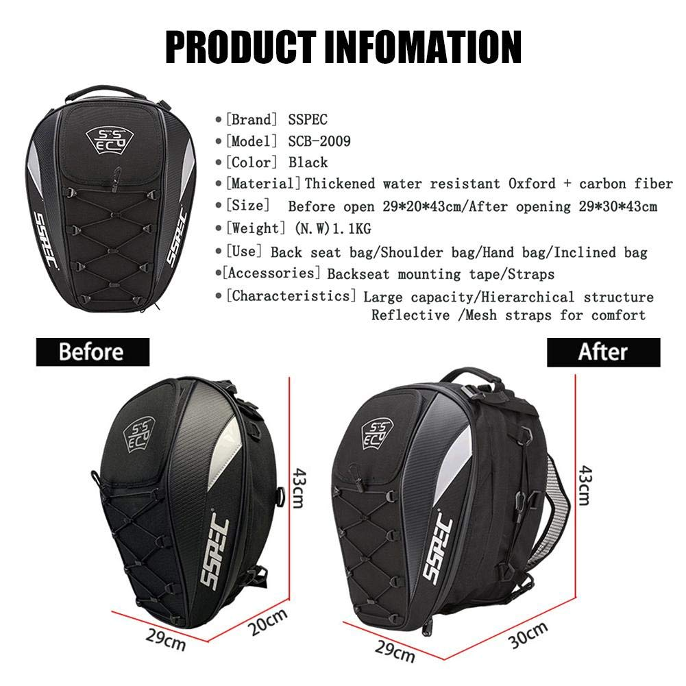 VOVI Oxford/ Cloth Motorcycle Tail Bag Large Capacity Motorcycle Tank Bag/ with/ A/ Waterproof/ Cover