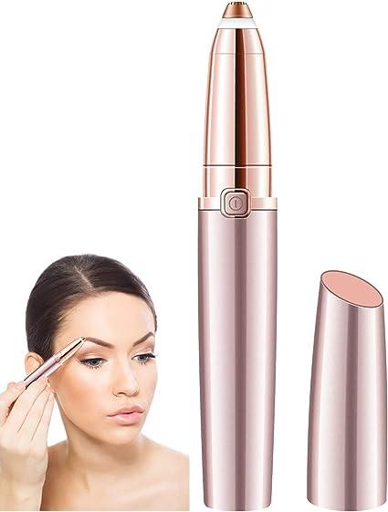 SHINCO removedor de vello de cejas sin dolor para mujer, afeitadora portátil para cejas con luz LED, depiladora de cejas de tamaño lápiz labial, afeitadora facial para un buen acabado (oro rosa):