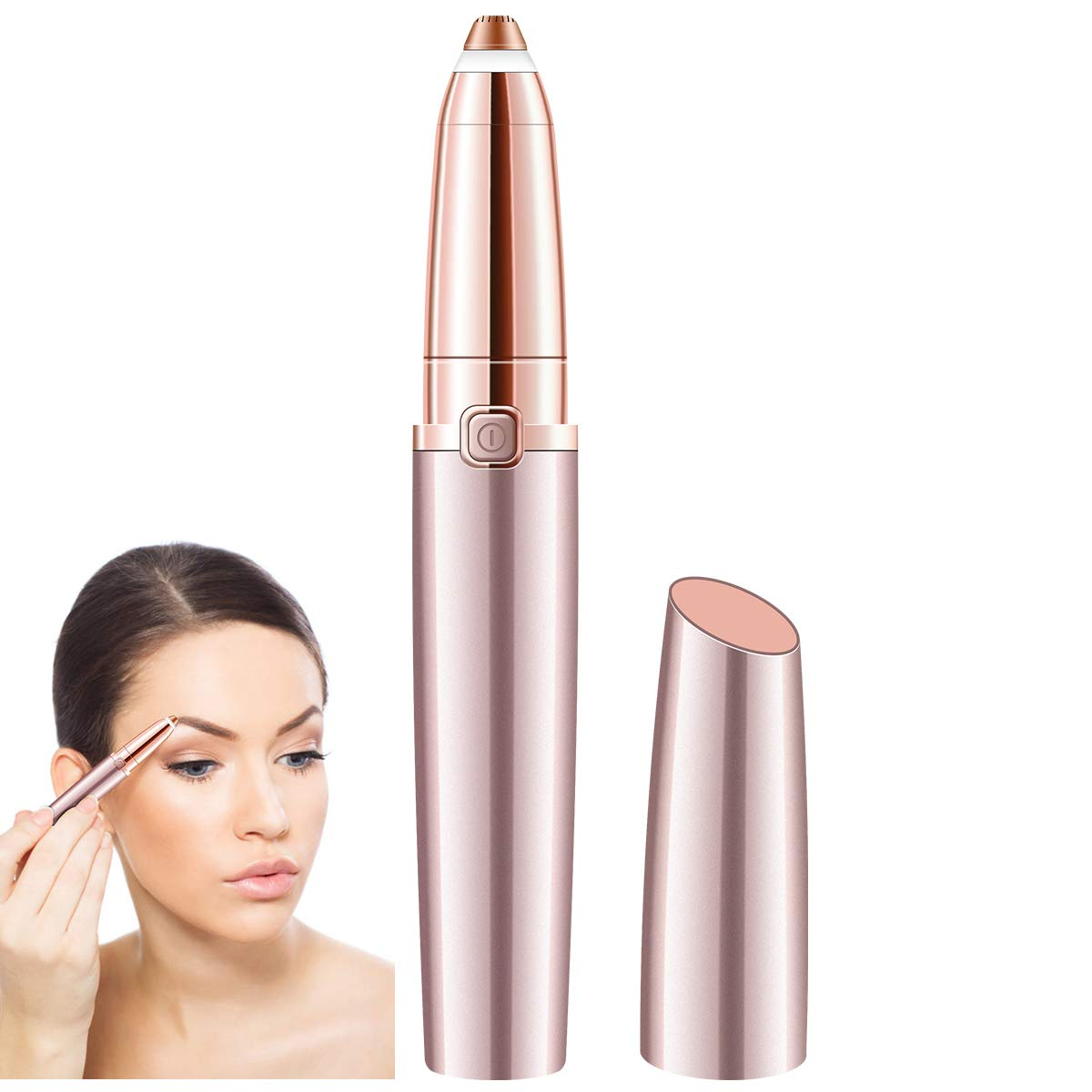 SHINCO Painless Eyebrow Hair Remover for Women,Portable Eyebrow Trimmer Razor with LED Light,Lipstick-Sized Eye brow Epilator,Facial Hair Shaver For Good Finishing (Rose Gold)