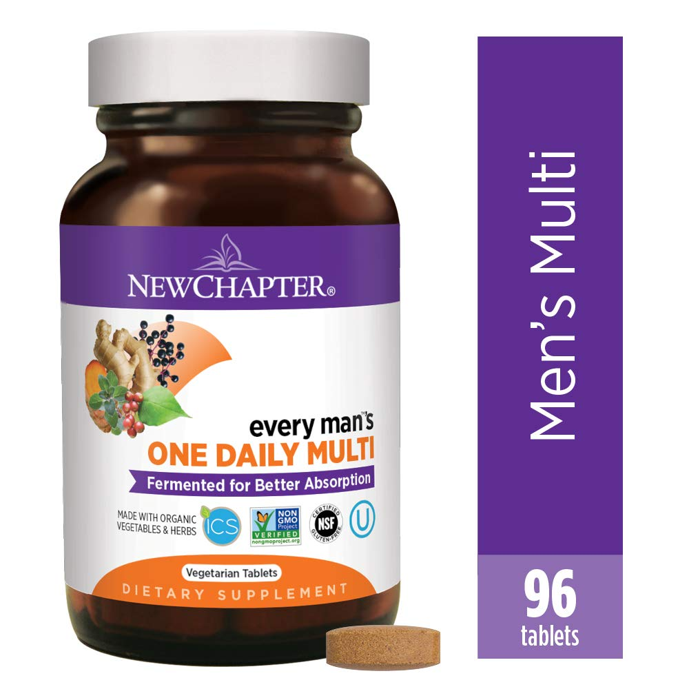 New Chapter Men s Multivitamin, Every Man s One Daily Fermented with Probiotics Selenium B Vitamins Vitamin D3 Organic Non-GMO Ingredients – 96 ct Packaging May Vary