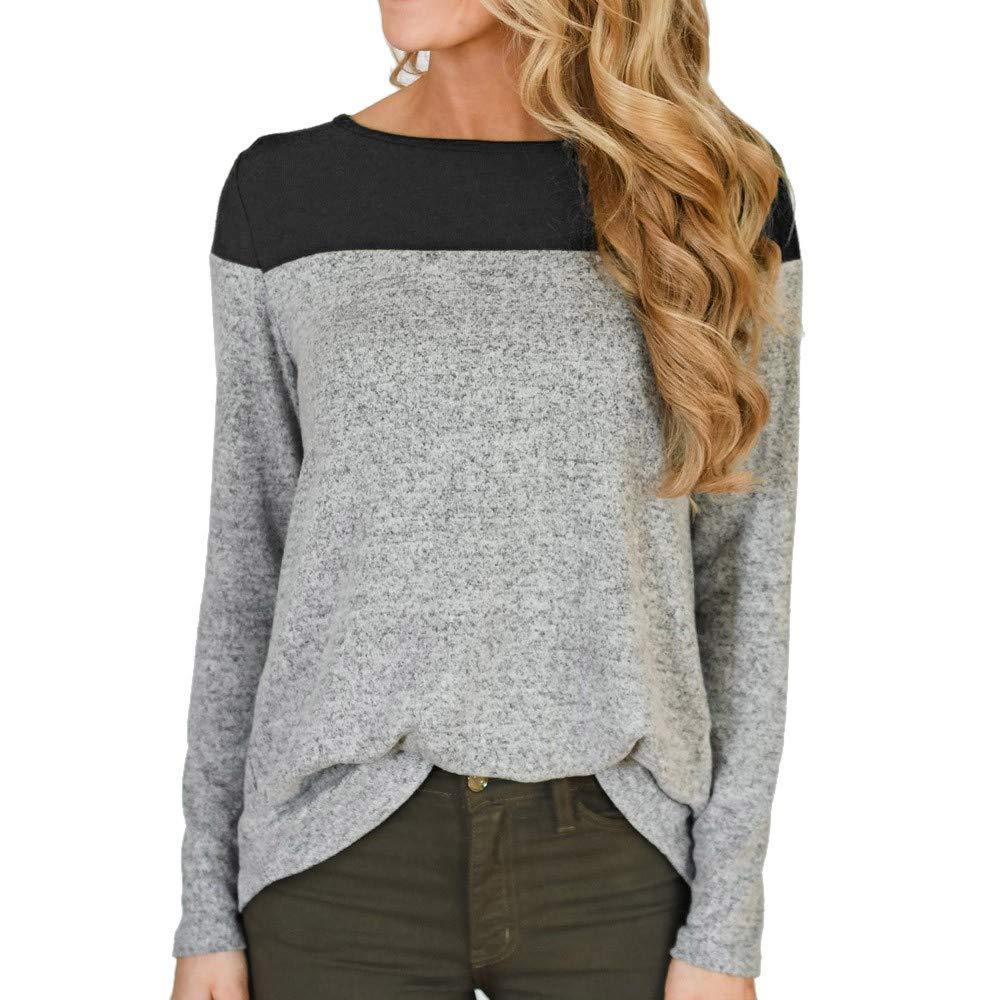 OCEAN-STORE Women's Sweatshirt Shirts Color Block Irregular Hem Blouse Tops ON-12 ON-123