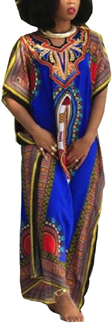 Rcool Damen Afrikanischen Kurzarm Lose Gerade Print Kaftan Freizeitkleidung Strandkleider Oversize Shirt Strandhemd Kleid Urlaub