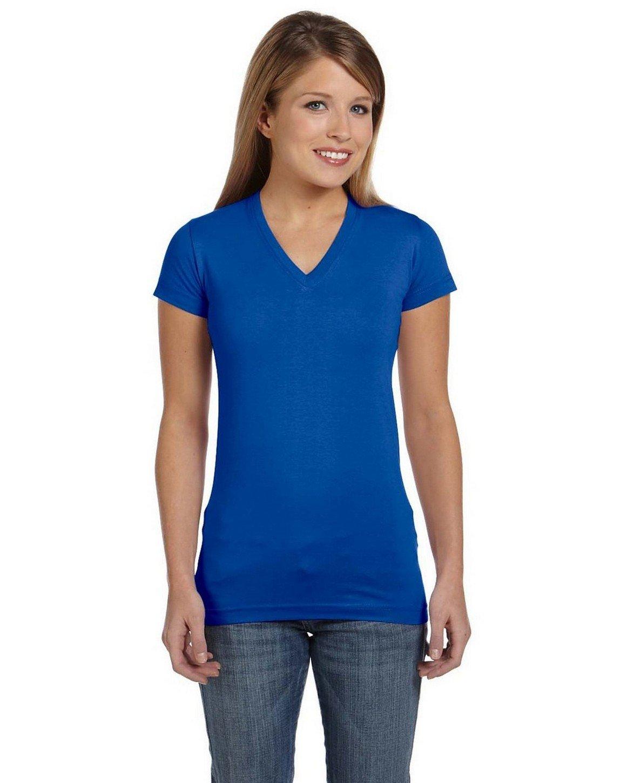LAT Sportswear Girls Juniors' Fine Jersey V-Neck Longer Length T-Shirt(3607)-Yellow-M