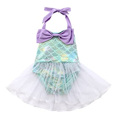 ef9fdffde9ef Specialcal Baby Girls Sequins Mermaid Fish Scale Bodysuit Romper Jumpsuit  Summer Sunsuit Outfits (3-