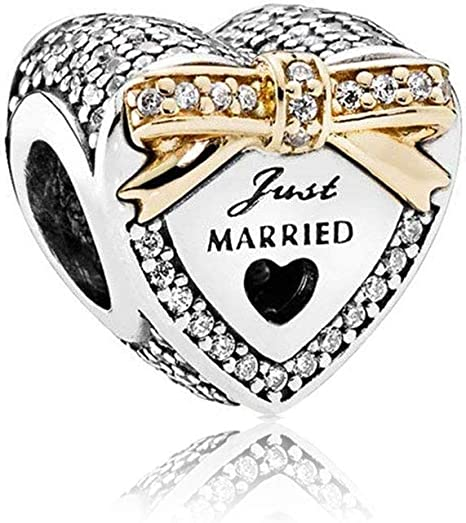 Wedding Day 925 Silver Charm Just Married Gold Plated Silver Bead for  Pandora Bracelets