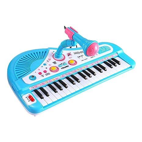 D DOLITY Juguete de Órgano Electrónico de 37 Teclados con Micrófono Instrumentos Musicales Plástico para Niños