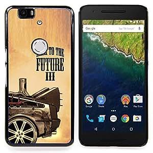 "Qstar Arte & diseño plástico duro Fundas Cover Cubre Hard Case Cover para Huawei Google Nexus 6P (Futuro Película Coche Dibujo Pintura Rueda del arte"")"