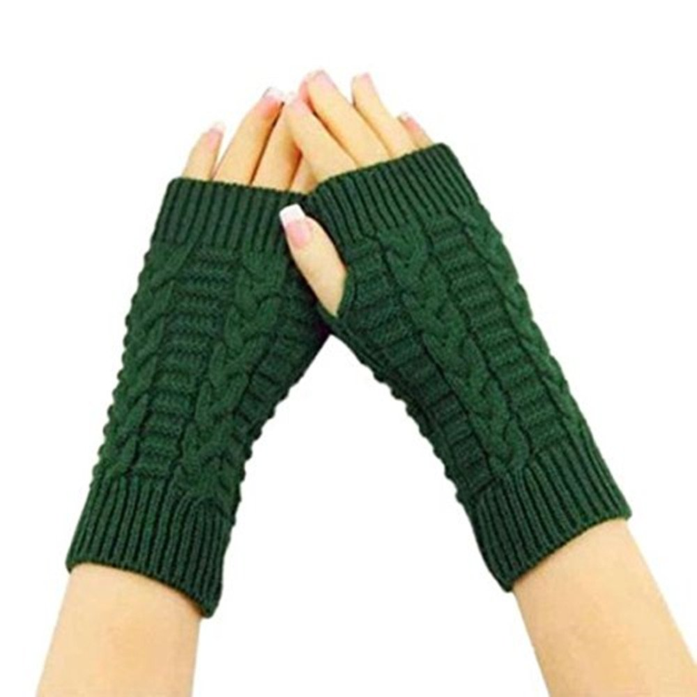 Gloves,Baomabao Knitted Arm Winter Gloves Unisex Soft Warm Mitten (Green)