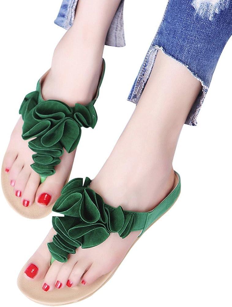 Imjono Décontracté/vacances/été Bohème Sandales Femme Mode Été Tongs De Plage Sabots Chaussures Plates Lady Pretty Floral Sandals Vert