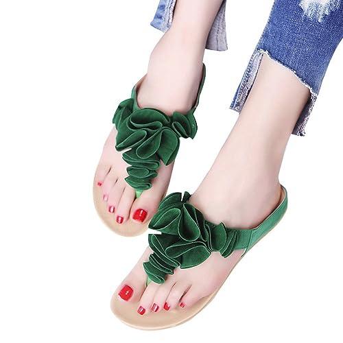 15bffabcc5c5 Creazrise Women s Summer Beach Flip Flops Casual Flat Shoes Lady Pretty  Floral Sandals Green