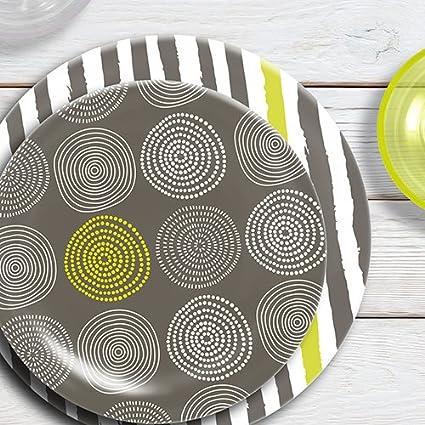 Canyon Coral ThermoServ 16 Piece Melamine Dinnerware Set Stripes /& Spirals