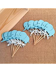 Birthday Decorations, Double-Sided Blue Elephants Cupcake Toppers ,Baby Shower Food Picks,Party Toppers Picks 12pcs