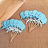 Baby : Birthday Decorations, Double-Sided Blue Elephants Cupcake Toppers ,Baby Shower Food Picks,Party Toppers Picks 12pcs