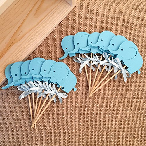 2016 baby shower decorations Blue kids themed cupcake toppers picks anniversaire enfant garcon animals cup cake topper supplies
