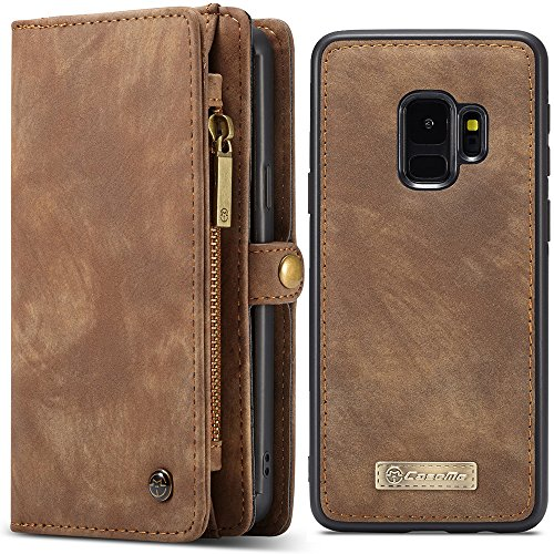 Samsung S9 Plus Leather Magnetic Phone Case Wallet Detachable Protective Case with Card Holder Folio Flip Cover, - Phone Fire Leather Case Wallet