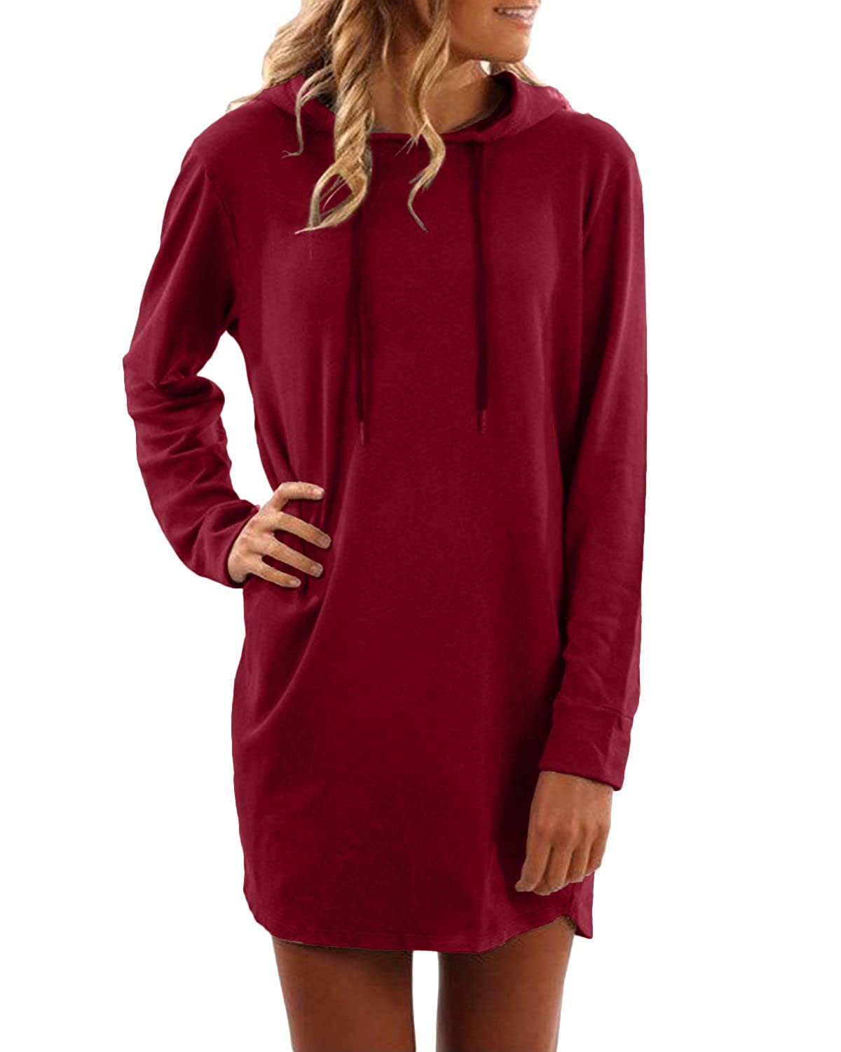 SUNNYME Women's Long Sleeve Sweatshirt Dresses Oversized Loose Fit Pullover Shirts SUNNYMEpajihduihe1669