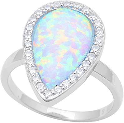 Princess Kylie Pink Synthetic Opal Clear Cubic Zirconia Teardrop Pendant Sterling Silver