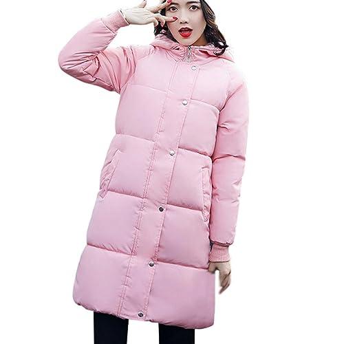 Abrigo Plumas Mujer Largo,Lenfesh Encapuchado Acolchado Anorak Jacket Caliente Más Gruesa Abrigo Par...