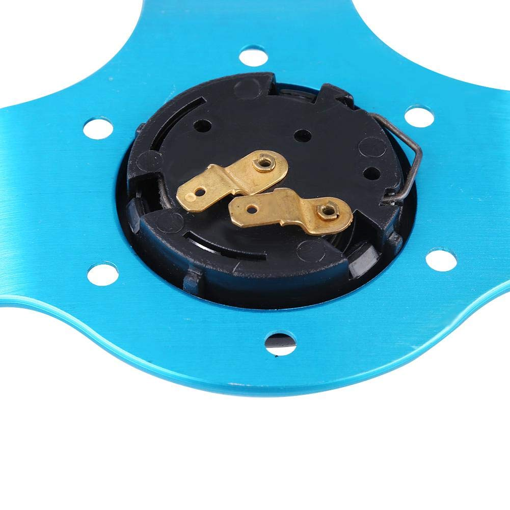 Cuque Universal Aluminum Frame Car Racing Steering Wheel 350mm 14 inch 6-Bolt Leather Auto Car Steering Wheel Blue
