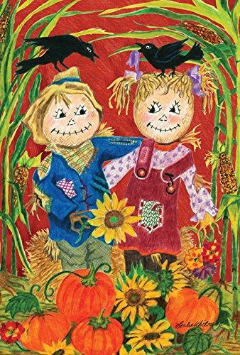 Toland Scarecrow - Toland Home Garden Scarecrow Love 12.5 x 18 Inch Decorative Fall Autumn Harvest Garden Flag