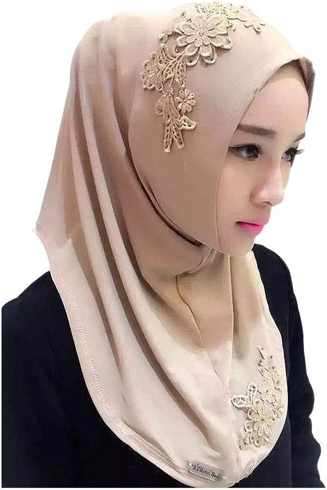 Wrap Hijab Arabic Hindu Jewish Head Full Cover Shawl Underscarf Cover Headwrap Bonnet Deylaying Muslim Headscarf Lace Embroidery Scarf