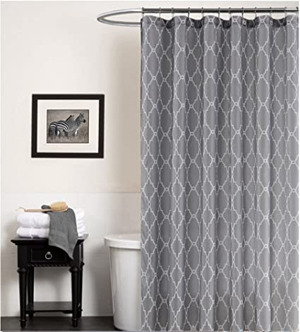 ALDECOR Geometric Patterned Water Repellent Fabric Shower Curtain Extra Long 95 Inch By 72
