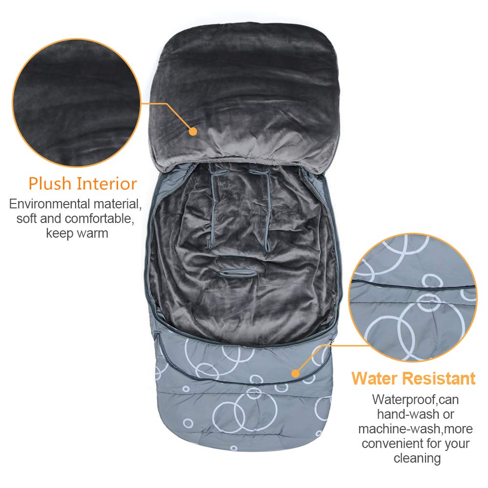 Wonder buggy Winter Outdoor Tour Waterproof Baby Infant Stroller Sleeping Bag Warm Footmuff Sack with Plush Interior (Gray) by Wonder buggy (Image #5)