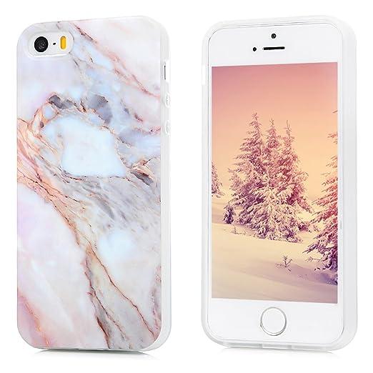 iPhone 5S Marmor Hülle, KASOS Marble Handyhülle : Silikon Case Weich TPU Huelle mit IMD Technologie für iPhone SE Jade