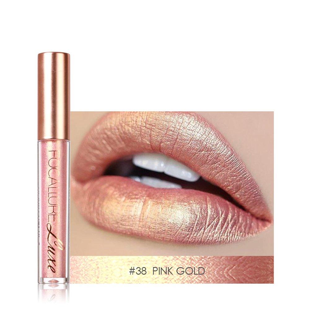KAYI Pearl Shimmer Metallic Lip Gloss - Long Lasting Lip Glaze - Platinum Silver, Pink Gold, Tan, Rose (4 Pcs Kit)