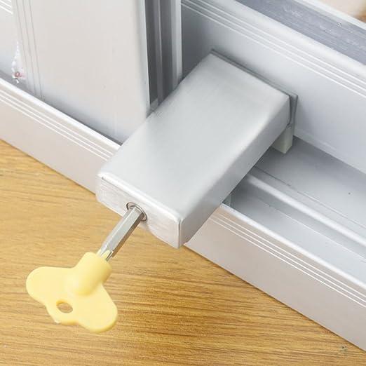 De calidad superior 2PCS puertas correderas y cerraduras de ventana de aleación de aluminio de plástico de acero ventana de límite de seguridad de bloqueo de protección de seguridad de los niños: