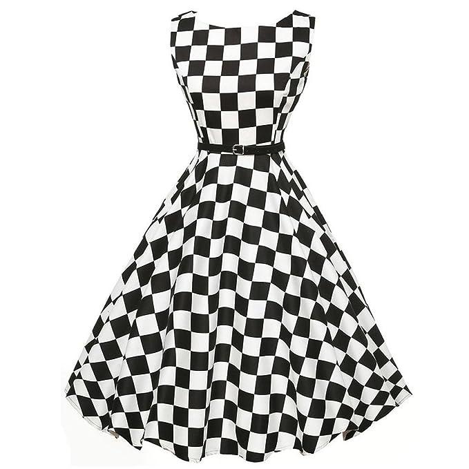 Damen Kleider, Sunday Damen Elegantes 50s Retro Vintage Ärmellos ...