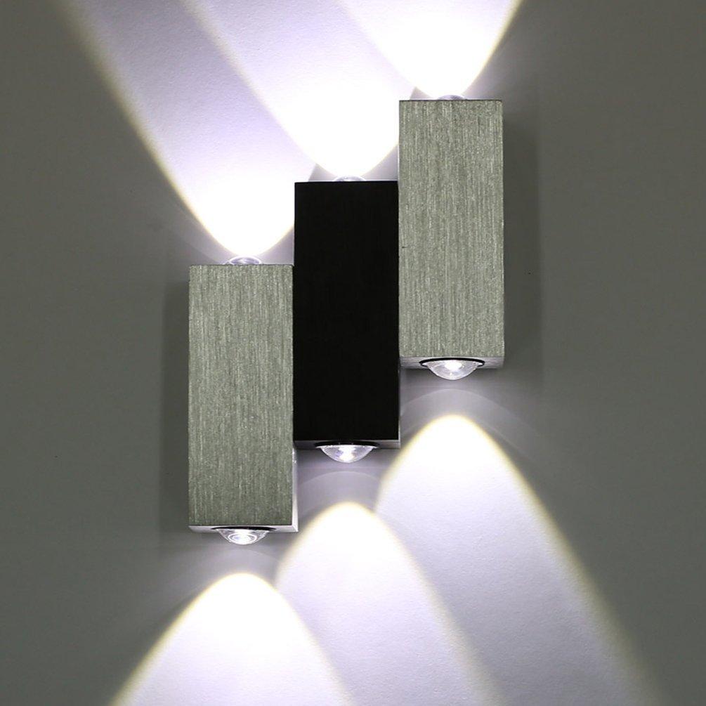 Lightess Apliques de Pared Rectangular Lá mpara de Pared Lá mpara en Moda de Puro Aluminio 4 LED 4 W Luz Cá lida y Agradable Luz de Ambiente, Iluminació n de Pasillo, Entrada, Dormitorio, Decoració n Hogar, Multicolor