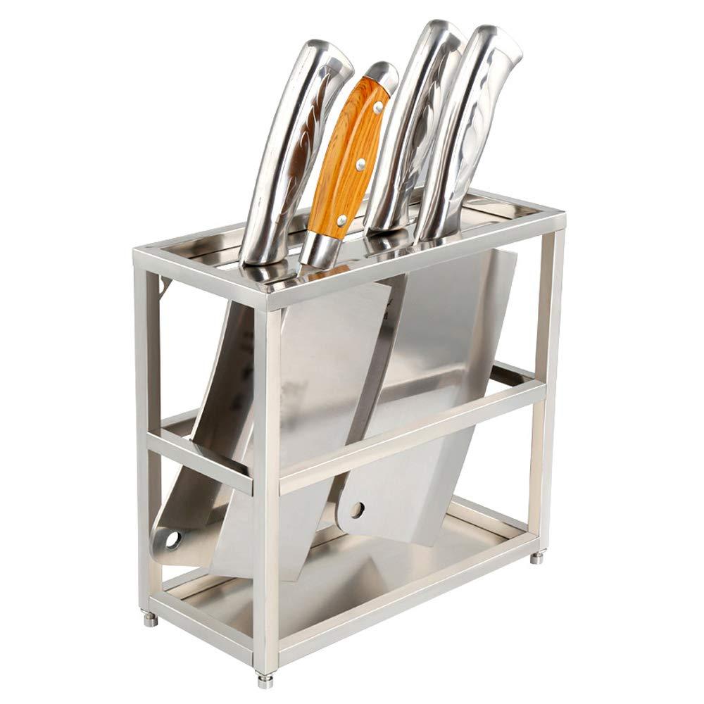 YANGMAN Knife Holder,Wall Countertop Stainless Steel Knife Rack Kitchen Dining Room Bar 3 Slot