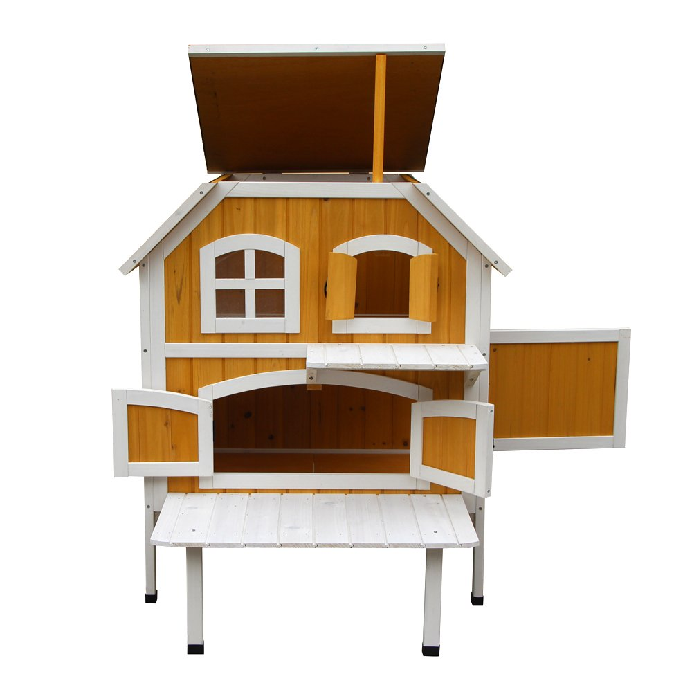 WisHome 2-Story Wooden Raised Elevated Cat Cottage Pet House Indoor Outdoor Kennel