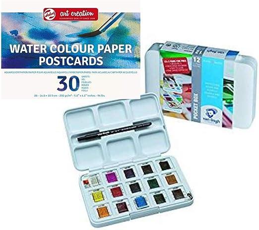 AMI, Van Gogh Juego de Acuarelas, Caja de 12 + 3 Colores de Acuarela Gratis, Incluye Bloc de Tarjetas de Postales de Acuarela: Amazon.es: Juguetes y juegos