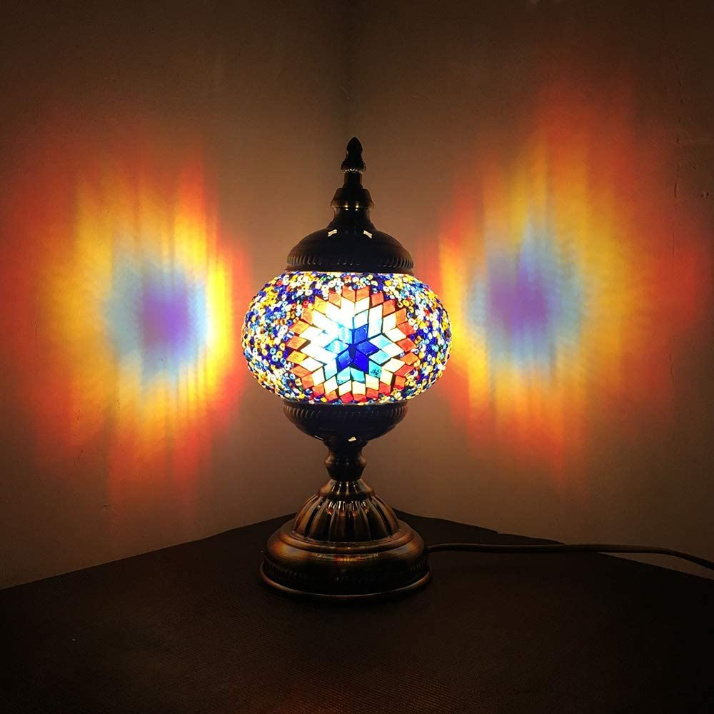 Turkish Mosaic Lamp NBHUZEHUA Unusua Vintage Stained Glass Moroccan Style Table Light Room Decoration Art Decor