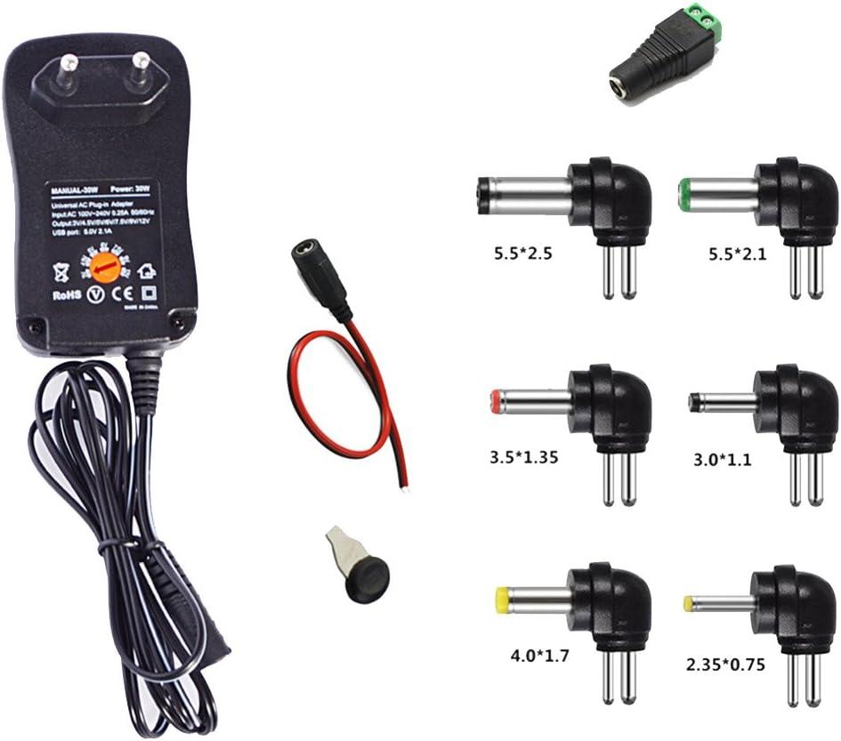 Gutreise 30W universal Power Supply Adapter 3V-12V AC/DC adaptador Fuente de alimentación conmutada 8 Adaptor Plugs con Puerto USB 5V 2,1A