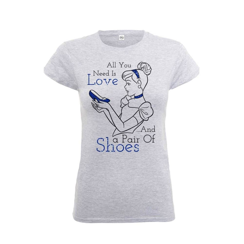 Disney Cinderella T Shirt Princess Cinderella New Official Womens Skinny Fit Grey