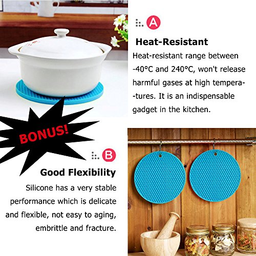 6 Packs Silicone Stretchable Lids with 1 Potholder, ANIN Reusable Expandable Food Container Wrap Sealed Cover Hugger with Different Size for Bowl Pot Cup Dish - Blue
