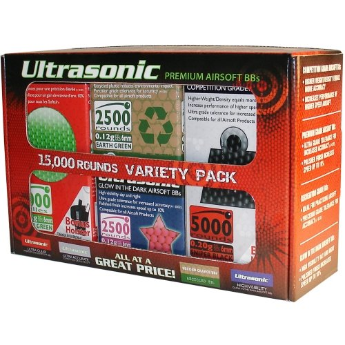 Ultrasonic Premium Airsoft BBs 15,000 Rounds Variety Pack [Competition Sniper Black, Marking Fluo Yellow, Glow in the Dark, Clear Green] (0.12g, 0.20g, 6mm) (Glow In The Dark Airsoft Bbs)