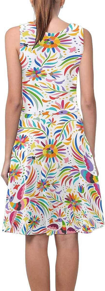 INTERESTPRINT Womens Sleeveless Sundresses Ethnic Bird Flower Sleeveless Flared Tank Dresseses XS-3XL