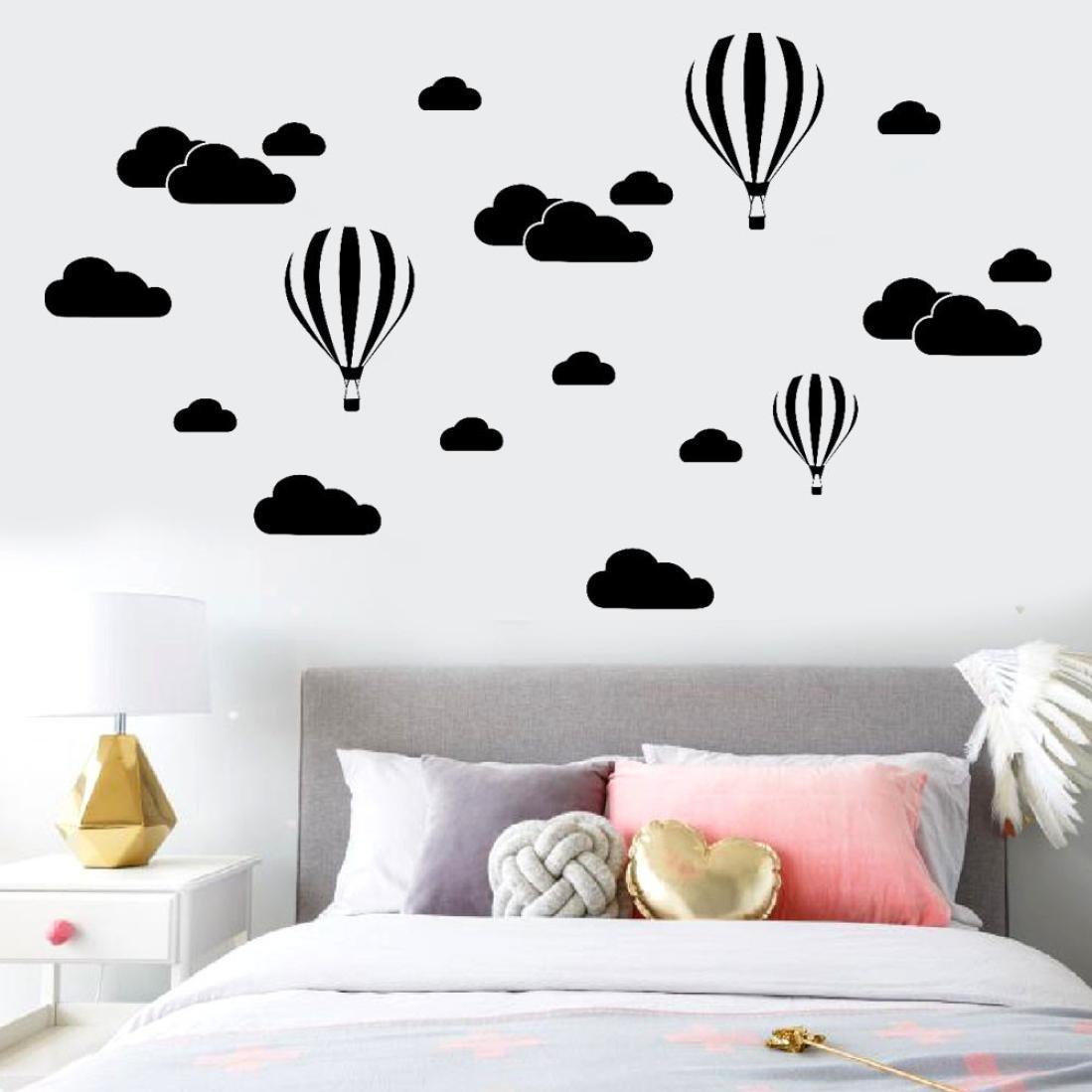 Dragon868 adesivi murali Grande Nuvole Mongolfiera Fai da Te Adesivi Murali Cameretta Cucina Salotto Home Decor (Bianco)